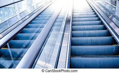 rulltrappa, rörelse, in, mall.