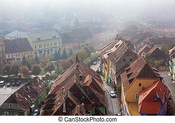 rumänien, transylvania, arial, mittelalterlich, stadt, saxon, grenzstein, sighisoara, ansicht