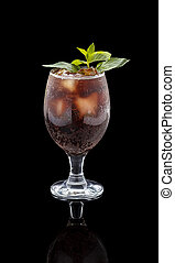 Rum and Cola Cuba Libre with Lime and Ice ver black...