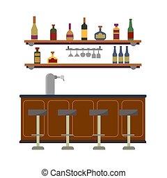 rum, bier, faucet., witte , bril, vloeistof, illustratie, interieur, bar, alcoholhoudend, muur, toonbank, wijntje, plat, vector, vrijstaand, pomp, tequila., lege, achtergrond, drinks., plank