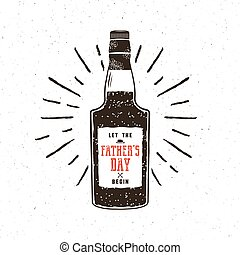 Rum bottle in retro style with sigh - let the fathers day...