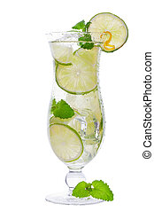 mojito cocktail drink in a tall glass with lime isolated on a white background