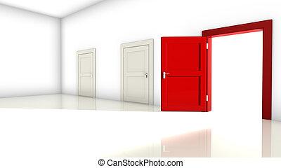 rum, dörrar, tre