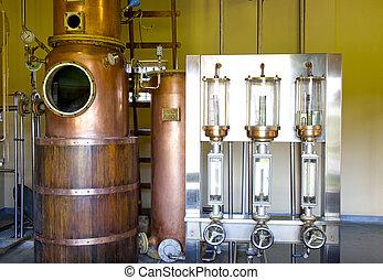 Rum distillery, manufacturing of rum on Mauritius island