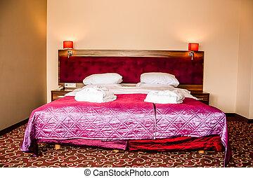 rum, dubbel, hotell, badkappa, säng, lyxvara, handdukar