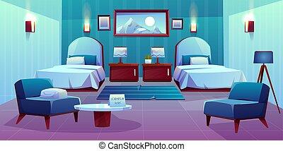 rum, dubbel, hotell, vektor, inre, tecknad film