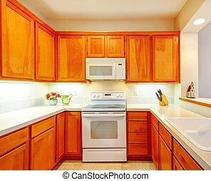 rum, enkel, lysande, färska blomstrar, kök