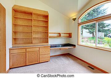 rum, furniture., studera, bibliotek, bygga, färsk, eller