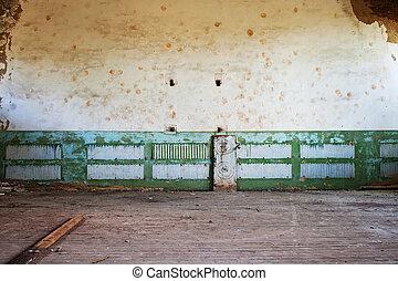 rum, golv, trä, målat vägg, övergiven