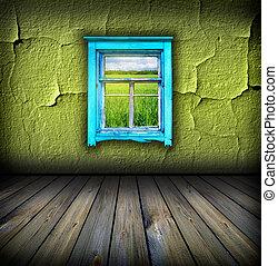 rum, gulv, af træ, vinhøst, himmel, det, mørke, felt, vindue, grønne, above