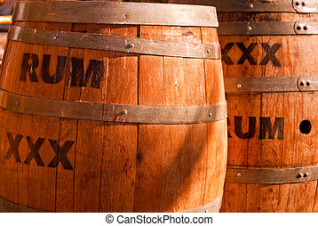 Wooden Rum kegs ringed with metal bands
