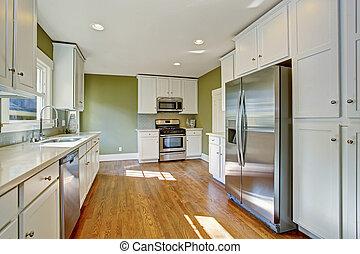rum, kombination, lagring, gröna vita, kök