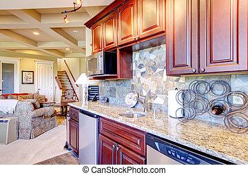 rum, kombination, mahogny, nymodig, lagring, kök