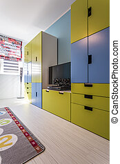 rum, med, färgglatt, built-in, möblemang