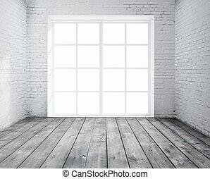 rum, med, fönster