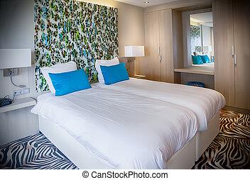 rum, nymodig, hotell
