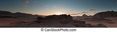 rum, panoramisch, wadi, wüste, sonnenaufgang, ansicht