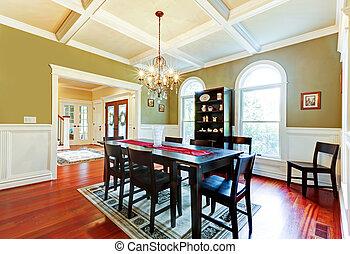 rum, restaurang, körsbär, floor., elegant, grön, lyxvara