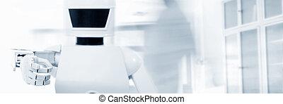 rum service, robot, främre del, autonom, tom