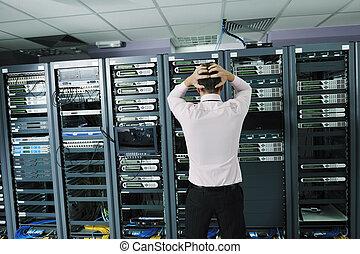 rum, system, server, mislykkes, situation, netværk