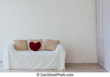 rum, tom, inre, vit soffa