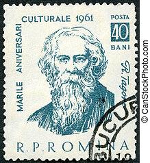 rumania, 1961:, serie, -, tagore, (1861-1941), rabindranath, indio, retratos, poeta, exposiciones