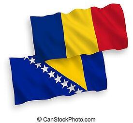 rumania, bosnia, banderas, herzegovina, plano de fondo, ...