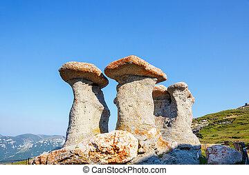 rumania, rocoso, babele, -, geomorphologic, estructuras, bucegi, montañas