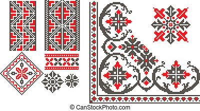 rumano, tradicional, patrones