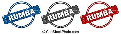 rumba, etiket, teken., stamp., set