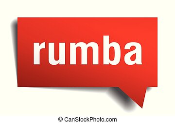 rumba red 3d speech bubble