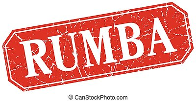 rumba red square vintage grunge isolated sign