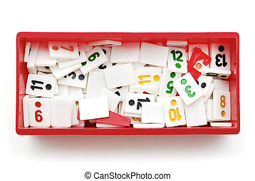 rummy pieces in box on white