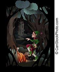 rumpelstiltskin, 妖精, 火, ダンス, 森林, 物語, イラスト, ベクトル, カバー, 前部, castle., 特徴, 本, 暗い