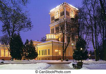 Rumyantsev-Paskevich Palace in snowy city park in Gomel, Belarus
