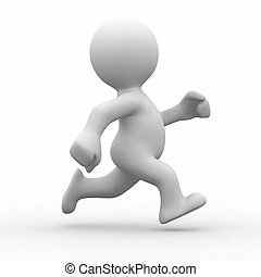 Run alone - 3d white human running alone in white background...
