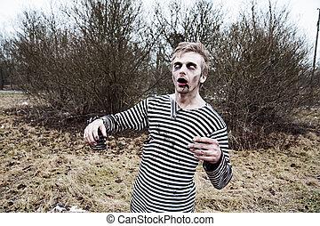 Dressed like sailor man acting creepy zombie