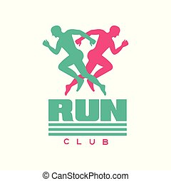 Run club logo, badge with abstract running men silhouettes, label for sports club, sport tournament, competition, marathon and healthy lifestyle vector illustration