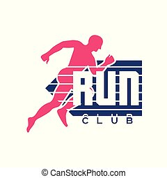 Run club logo, emblem with abstract running man silhouette, colorful label for sports club, sport tournament, competition, marathon and healthy lifestyle vector illustration