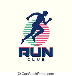 Run club logo, emblem with abstract running man silhouette, label for sports club, sport tournament, competition, marathon and healthy lifestyle vector illustration