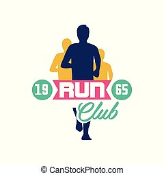 Run club logo estd 1965, emblem with abstract running people silhouettes, label for sports club, sport tournament, competition, marathon and healthy lifestyle vector illustration