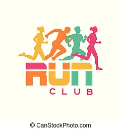 Run club logo template, colorful emblem with abstract running people silhouettes, label for sports club, sport tournament, competition, marathon and healthy lifestyle vector illustration