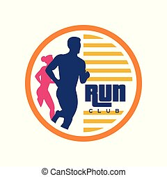 Run club logo template, emblem with abstract running man and woman silhouettes, label for sports club, sport tournament, competition, marathon and healthy lifestyle vector illustration