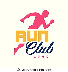 Run club logo template, emblem with abstract running man silhouette, colorful label for sports club, sport tournament, competition, marathon and healthy lifestyle vector illustration