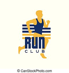 Run club logo template, emblem with running man, label for sports club, sport tournament, competition, marathon and healthy lifestyle vector illustration