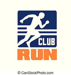 Run club logo template, emblem with running man silhouette, label for sports club, sport tournament, competition, marathon and healthy lifestyle vector illustration
