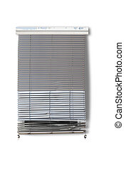 Run down gray venetian blind in front of window isolated on...