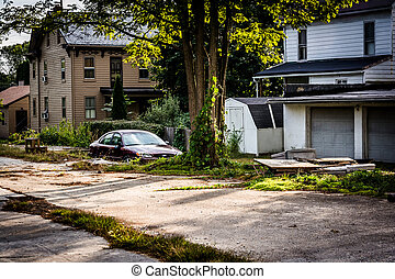 Run-down residences in Bairs, Pennsylvania, - Run-down...