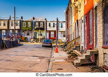 Run-down residential area in Baltimore, Maryland. - Run-down...