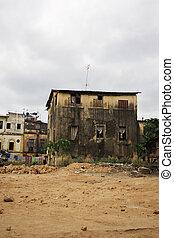 Run down residential area Mombasa Kenya Africa